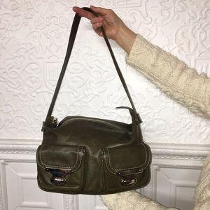 Marc Jacobs Olive Shoulder Bag with Suede Interior